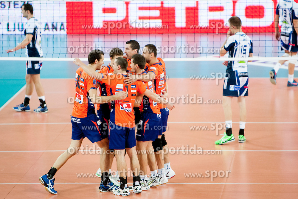 Players of ACH Volley during volleyball match between ACH Volley (SLO) and Tours VB (FRA) in 3rd Round of CEV Champions League on November 5, 2013 in Arena Stozice, Ljubljana, Slovenia. (Photo by Urban Urbanc / Sportida)