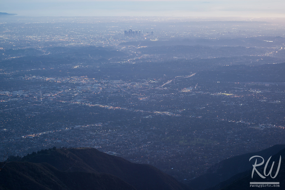 Early Evening View of Los Angeles from Mount Wilson Observatory, Angeles National Forest, California