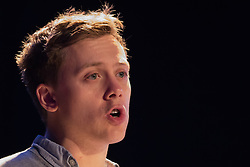 The Camden Centre, Kings Cross, London, November 4th 2015. Writer and social justice campaigner Owen Jones addresses a rally at the Camden Centre in Kings Cross, organised by Stand Up To Racism in support of refugees.