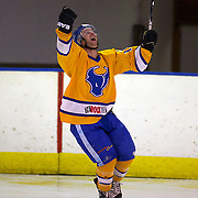 Stacey Rout celebrates after scoring for Southern Stampede during the Southern Stampede V Canterbury Red Devils National Ice Hockey League matches at the Queenstown Ice Arena, Southern Stampede won both series games 5-3 and 5-2. Queenstown, South Island, New Zealand, 16th July 2011