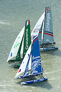 Groupama, Gazprom Team Russia and JP Morgan. Day four of the Extreme Sailing Series regatta being sailed in Singapore. 23/2/2014