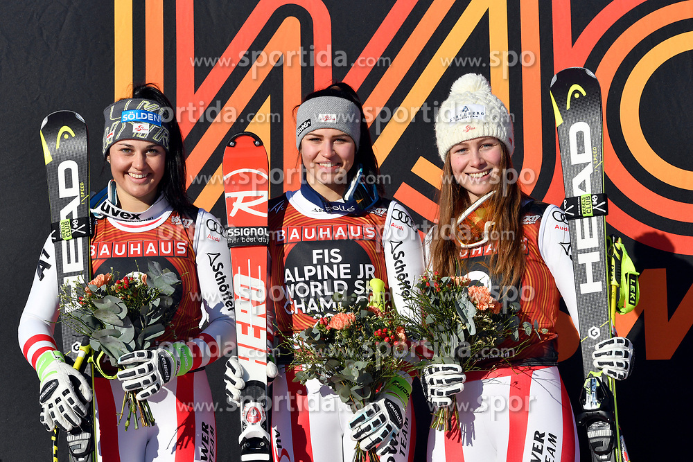 09.03.2017, Are, SWE, FIS Ski Alpin Junioren WM, Are 2017, Damen, Super G, im Bild Franziska Gritsch, Nadine Fest och Dajana Dengsherz // during Ladies Super G of the FIS Junior World Ski Championships 2017. Are, Sweden on 2017/03/09. EXPA Pictures &copy; 2017, PhotoCredit: EXPA/ Nisse<br /> <br /> *****ATTENTION - OUT of SWE*****