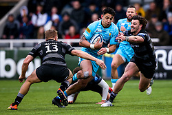 Bryce Heem of Worcester Warriors takes on Johnny Williams of Newcastle Falcons and Chris Harris of Newcastle Falcons - Mandatory by-line: Robbie Stephenson/JMP - 03/03/2019 - RUGBY - Kingston Park - Newcastle upon Tyne, England - Newcastle Falcons v Worcester Warriors - Gallagher Premiership Rugby