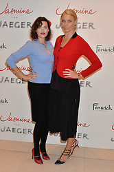 Left to right, JASMINE GUINNESS and JODIE KIDD at the launch of the 'Jasmine for Jaeger' fashion collection by Jasmine Guinness for fashion label Jaeger held at Fenwick's, Bond Street, London on 9th September 2015.