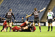 Chris Dean calls for a penalty during the Guinness Pro 14 2017_18 match between Edinburgh Rugby and Munster Rugby at Myreside Stadium, Edinburgh, Scotland on 16 March 2018. Picture by Kevin Murray.