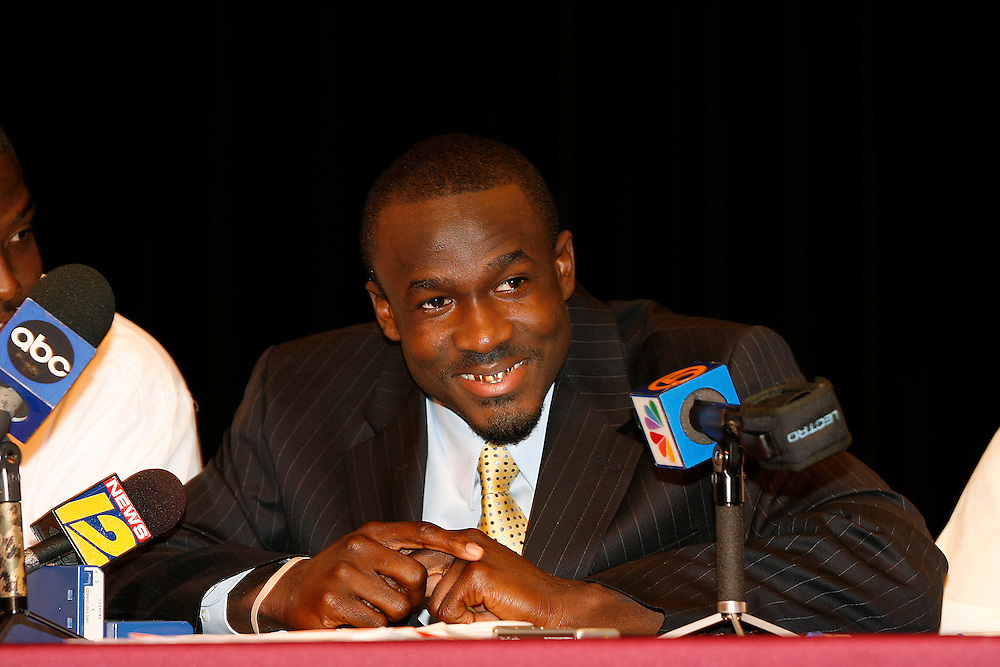 Glades Central High School wide receiver Deonte Thompson smiles before signing his National Letter of Intent with the University of Florida on February 7, 2007 at Glades Central High School in Belle Glade, Florida.