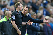 Sheffield Wednesday head coach Carlos Carvalhal argues about Sheffield Wednesday  disallowed goal during the Sky Bet Championship play-off first leg match between Sheffield Wednesday and Brighton and Hove Albion at Hillsborough, Sheffield, England on 13 May 2016. Photo by Simon Davies.