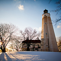 The Sandy Hook Lighthouse after a recent snowfall