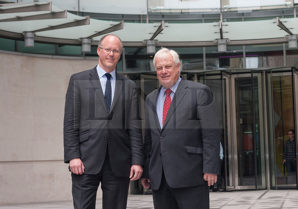 © licensed to London News Pictures. London, UK 04/07/2012.  George Entwistle, the new director of the BBC (left) and BBC Trust Chairman Lord Patten (right) posing today, outside BBC's New Broadcasting House. BBC Trust Chairman Lord Patten has appointed George Entwistle as the Director-General of the BBC. Photo credit: Tolga Akmen/LNP