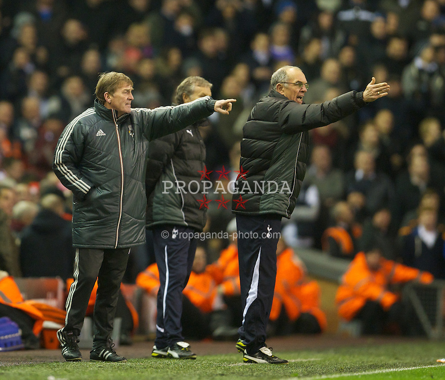 LIVERPOOL, ENGLAND - Monday, February 6, 2012: Liverpool's manager Kenny Dalglish and Tottenham Hotspur's coach Joe Jordanc during the Premiership match at Anfield. (Pic by David Rawcliffe/Propaganda)