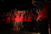 Adam Vaughn supporters do the wave onstage at the Rivoli in downtown Toronto on Oct. 19, 2015. Vaughan, the incumbent Liberal MP, won the newly created Spadina-Fort<br /> York riding, defeating NDP candidate Olivia Chow.