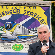 London, England, UK. 4th September 2017. Speaker John McDonnell at the McD Strike UK 2017 demand MacDonald a minmum wages of £10 an hour and no to zero hours at the Parliament yard.