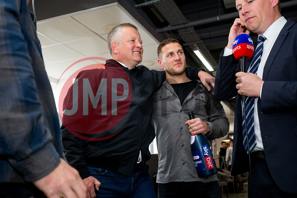 Chris Wilder and Billy Sharp are interviewed after Sheffield United celebrate securing automatic promotion from the Sky Bet Championship to the Premier League, after gathering at the stadium to watch Leeds United drop points versus Aston Villa on TV - Rogan/JMP - 28/04/2019 - Bramall Lane - Sheffield, England - Sky Bet Championship.