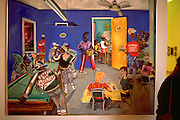 Caribbean pool hall painting at the Weisman Museum.  Minneapolis Minnesota USA