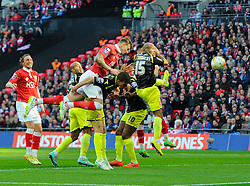 Bristol City's Aden Flint scores the opening goal of the game  - Photo mandatory by-line: Joe Meredith/JMP - Mobile: 07966 386802 - 22/03/2015 - SPORT - Football - London - Wembley Stadium - Bristol City v Walsall - Johnstone Paint Trophy Final