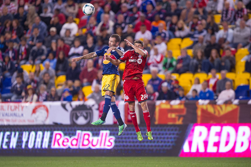 HARRISON, NJ - SEPTEMBER 14:  Jonny Steele #22 of New York Red Bulls heads the ball during the game against the Toronto FC at Red Bulls Arena on September 14, 2013. (Photo By: Rob Tringali)