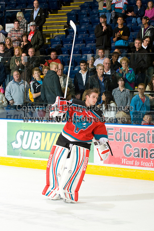 KELOWNA, CANADA, OCTOBER 20: Adam Brown #1 of the Kelowna Rockets salutes the crowd after a win as  the Vancouver Giants visited the Kelowna Rockets on October 20, 2011 at Prospera Place in Kelowna, British Columbia, Canada (Photo by Marissa Baecker/shootthebreeze.ca) *** Local Caption ***Adam Brown;