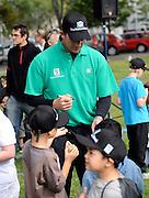 Shane Bond Sings Autographs at the National Bank's Cricket Super Camp , University oval, Dunedin, New Zealand. Thursday 2 February 2012 . Photo: Richard Hood photosport.co.nz