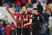 Steve Cook (3) of AFC Bournemouth celebrates at full time after a 2-1 win over West Bromwich Albion during the Premier League match between Bournemouth and West Bromwich Albion at the Vitality Stadium, Bournemouth, England on 17 March 2018. Picture by Graham Hunt.