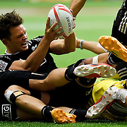 Lewis Ormond fights to keep control of the ball during New Zealand's 28-19 win over Australia at the HSBC Canada Sevens in Vancouver, B.C., on March 13, 2016.