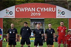 RHOSYMEDRE, WALES - Sunday, May 5, 2019: Referee David Morgan with his assistants during the FAW JD Welsh Cup Final between Connah's Quay Nomads FC and The New Saints FC at The Rock. L-R  Jonathan Bryant, Bryn Markham-Jones, referee David Morgan and Ashley Davies. (Pic by David Rawcliffe/Propaganda)