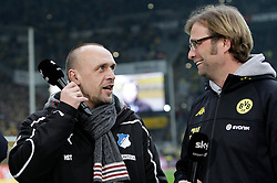"28.01.2012, Signal Iduna Park, Dortmund, GER, 1. FBL, Borussia Dortmund vs 1899 Hoffenheim, 19. Spieltag, im Bild v.l. Trainer Holger Stanislawski (TSG 1899 Hoffenheim), Trainer Juergen Klopp (Borussia Dortmund) im Gespraech, Freisteller // during the football match of the german ""Bundesliga"", 19th round, between GER, 1. FBL, Borussia Dortmund and 1899 Hoffenheim, at the Signal Iduna Park, Dortmund, Germany on 2012/01/28. EXPA Pictures © 2012, PhotoCredit: EXPA/ Eibner/ Oliver Vogler..***** ATTENTION - OUT OF GER *****"