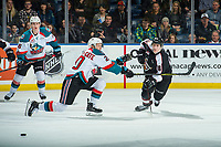 KELOWNA, CANADA - FEBRUARY 7:  Conner Bruggen-Cate #20 of the Kelowna Rockets attempts to block a pass by Davis Koch #16 of the Vancouver Giants on February 7, 2018 at Prospera Place in Kelowna, British Columbia, Canada.  (Photo by Marissa Baecker/Shoot the Breeze)  *** Local Caption ***
