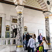 Crowds of visitors in the Harem of the Topkapi Palace, the Ottoman palace in Istanbul's Sultanahmet district.