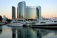 An early  evening view of  the San Diego Marina California , with the Marriott Hotel in the background.