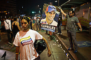 Supporters of the candidate Henrique Capriles Radonsky protest in Altamira district against the proclamamtion as President of Nicolas Maduro Moro and calling for a recounting of the votes.