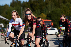 Hannah Barnes (GBR) makes her way to sign on for Ladies Tour of Norway 2019 - Stage 4, a 154 km road race from Svinesund to Halden, Norway on August 25, 2019. Photo by Sean Robinson/velofocus.com