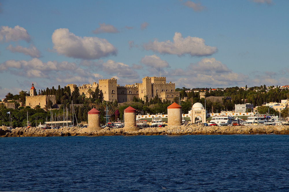 View of Mantraki, the port of Rhodes with the Castle of the Knights at the back. Medieval town of Rhodes, Dodecanese islands, Greece.