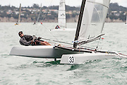 Mark Johnston (AUS22), race one of the A Class World championships regatta being sailed at Takapuna in Auckland. 11/2/2014
