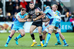 Tom Arscott of Newcastle Falcons is tackled - Mandatory by-line: Robbie Stephenson/JMP - 28/10/2018 - RUGBY - Kingston Park Stadium - Newcastle upon Tyne, England - Newcastle Falcons v Exeter Chiefs - Premiership Rugby Cup