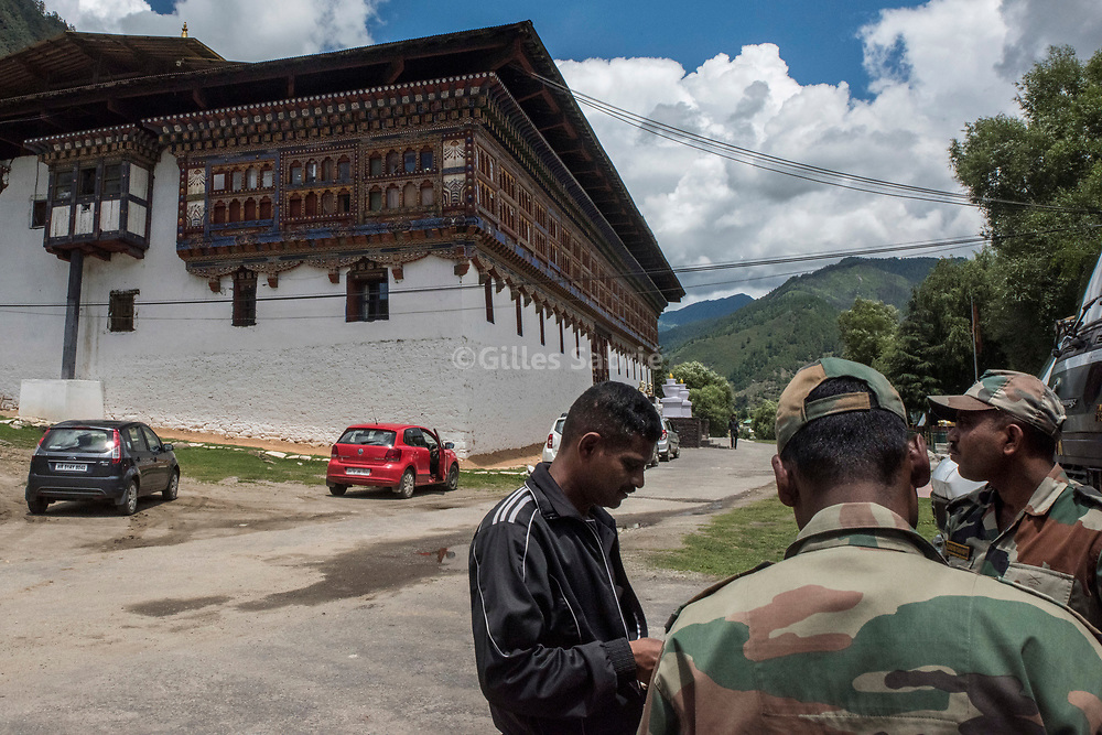For a story by Steven Lee Myers, Bhutan<br /> Haa, Bhutan, August 3rd, 2017<br /> Indian soldiers at Haa dzong (fortress) which they use as their headquarters for the region, close to a disputed border between Bhutan and China. The dispute escalated recently leading to a showdown between India and China. The use of the Dzong, a historical monument, by the Indian army, has created some resentment in Bhutan. <br /> Gilles Sabri&eacute; pour The New York Times