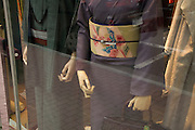 window display with traditional Kimono clothing Japan Tokyo