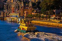 A ferry boat passes by the ferris wheel, McMahon Point, North Sydney, Sydney, New South Wales, Australia