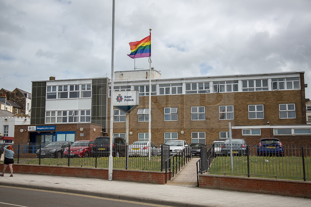 @Licensed to London News Pictures 10/08/2019. Margate, Kent. Kent Police fly the rainbow flag outside the Margate police station today during the Margate Pride procession. Photo credit: Manu Palomeque/LNP
