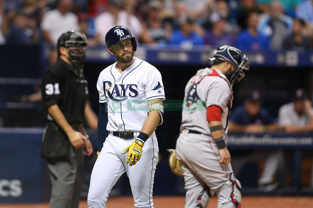 August 8, 2017 - St. Petersburg, Florida, U.S. - WILL VRAGOVIC   |   Times.Tampa Bay Rays third baseman Evan Longoria (3) after striking out in the ninth inning of the game between the Boston Red Sox and the Tampa Bay Rays at Tropicana Field in St. Petersburg, Fla. on Tuesday, August 8, 2017. The Boston Red Sox beat the Tampa Bay Rays 2-0. (Credit Image: © Will Vragovic/Tampa Bay Times via ZUMA Wire)
