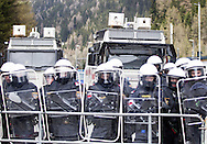 Fully equipped officers of the Italian Carabinieri with shields at a demonstration against cross assurance measures at the border from Italy to Austria in Gries am Brenner, Austria.<br /> Picture by EXPA Pictures/Focus Images Ltd 07814482222<br /> 24/04/2016