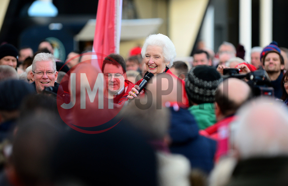 Marina Dolman speaks during the John Atyeo Statue unveiling at Ashton Gate Stadium  - Mandatory by-line: Dougie Allward/JMP - 05/11/2016 - FOOTBALL - Ashton Gate - Bristol, England - Bristol City v Brighton and Hove Albion - Sky Bet Championship