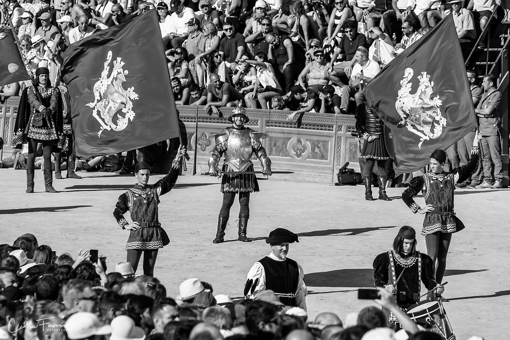 """Historical Parade arriving at the Piazza del Campo""""."""