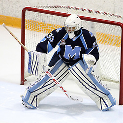 TORONTO, ON - SEP 11:  Cosimo Lazzarino #33 of the St.Michael's Buzzers makes the save during the pregame warm-up. OJHL regular season game between the St.Michael's Buzzers and the Georgetown Raiders St.Michael's Buzzers and Georgetown Raiders  on September 11, 2016 in Toronto, Ontario. (Photo by Tim Bates / OJHL Images)