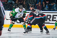 KELOWNA, CANADA - NOVEMBER 12: Sean Montgomery #25 of the Prince Albert Raiders faces off against Dillon Dube #19 of the Kelowna Rockets on November 12, 2016 at Prospera Place in Kelowna, British Columbia, Canada.  (Photo by Marissa Baecker/Shoot the Breeze)  *** Local Caption ***