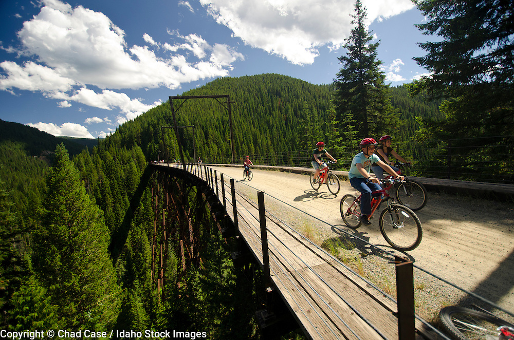 Bikers enjoy the Hiawatha Trail in northern Idaho.