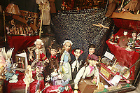 Lyon, France..marionettes in the window of the shop Disagn'Cardelli, a puppet and marionnette museum and boutique, including many  Gignols