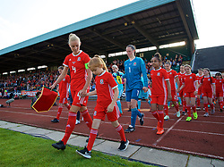 NEWPORT, WALES - Tuesday, June 12, 2018: Wales' captain Sophie Ingle leads her side out to face Russia during the FIFA Women's World Cup 2019 Qualifying Round Group 1 match between Wales and Russia at Newport Stadium. (Pic by David Rawcliffe/Propaganda)