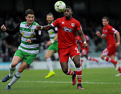 Alex Lacey of Yeovil Town and Omar Bogle of Grimsby Town compete for the high ball  - Mandatory by-line: Nizaam Jones/JMP - 29/10/2016/ - FOOTBALL - Hush Park - Yeovil, England - Yeovil Town v Grimsby Town - Sky Bet League Two