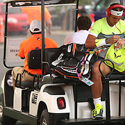 March 18, 2015, Indian Wells, California:<br /> Rafael Nadal rides a cart toward stadium one before a match against Gilles Simon at the Indian Wells Tennis Garden in Indian Wells, California Wednesday, March 18, 2015.<br /> (Photo by Billie Weiss/BNP Paribas Open)