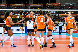 15-10-2018 JPN: World Championship Volleyball Women day 16, Nagoya<br /> Netherlands - USA 3-2 / Celeste Plak #4 of Netherlands, Myrthe Schoot #9 of Netherlands, Laura Dijkema #14 of Netherlands, Lonneke Sloetjes #10 of Netherlands, Maret Balkestein-Grothues #6 of Netherlands, Yvon Belien #3 of Netherlands